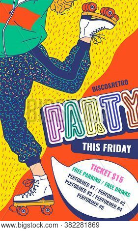 Disco Retro Party Poster In 80s And 90s Fashion Vector Cartoon Illustration.