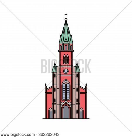 Famous Seoul Cathedral Icon Isolated On White Background