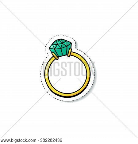 Engagement Ring With Green Emerald Diamond - Isolated Doodle Sticker