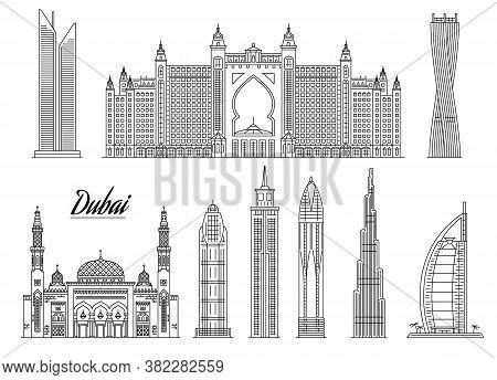 Famous Dubai Building Line Icon Set Isolated On White Background