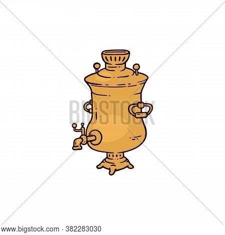 Russian Big Teapot Or Samovar, Sketch Cartoon Vector Illustration Isolated.
