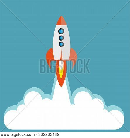 Vector Space Rocket On Blue Background With Copy Space