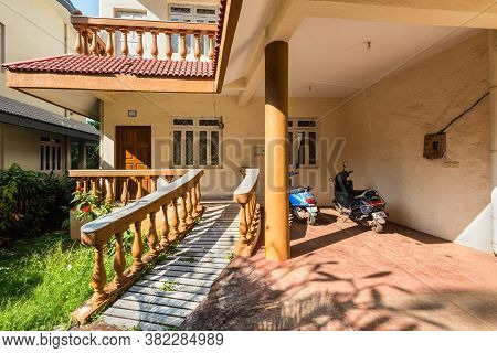 Candolim, North Goa, India - November 23, 2019: Exterior Of The Typical Residential Building Or Gues