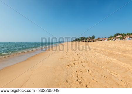Candolim, North Goa, India - November 23, 2019: Wide Angle View Of The Candolim Beach And Calangute