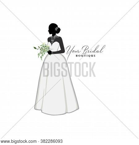 Beautiful Bride Brocade Gown With Flower Bouquet, Bridal Boutique Logo, Bridal Gown Logo Vector Desi
