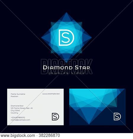 Diamond Star Logo. D, S Monogram And Crystal Like Star. Jewelry Store Logo. Faceted Gem Blue Crystal