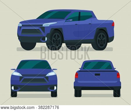 Modern Pickup Truck Set. Pickup Truck With Side View, Back View And Front View. Vector Flat Style Il