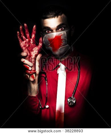 Evil Dark Medical Surgeon Waving Amputated Hand