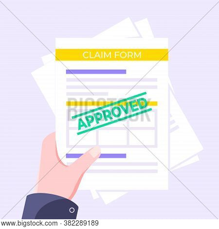 Hand Holds Approved Claim Or Credit Loan Form, Paper Sheets And Approved Stamp Flat Style Design Vec