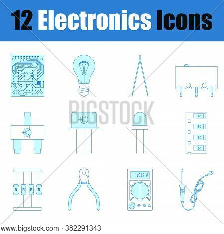 Electronics Icon Set. Thin Line With Blue Fill Design. Vector Illustration.