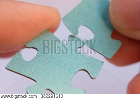 Close Up Jigsaw Puzzle. Business Solutions, Success And Strategy Concept. Businessman Concept. Jigsa