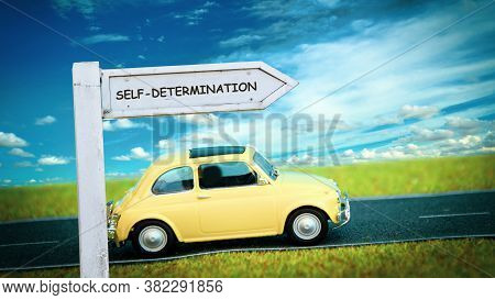 Street Sign The Direction Way To Self-determination