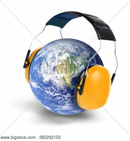 Noise Pollution Concept Planet Earth With Hearing Protectors Isolated White Background