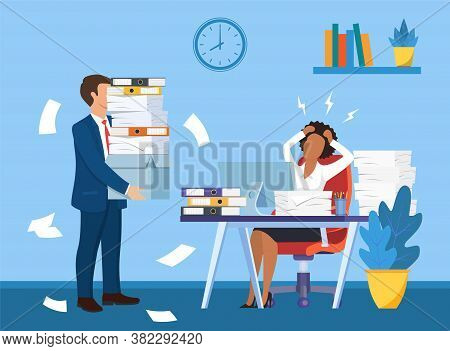 Overworked In The Office. Black Female Worker At The Desk Exhausted With Too Much Paper Work, Her Co
