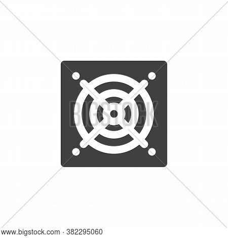 Computer Power Unit Cooler Vector Icon. Filled Flat Sign For Mobile Concept And Web Design. Pc Hardw