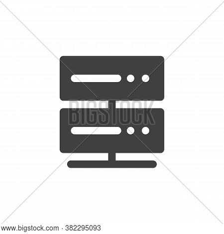 Data Network Server Vector Icon. Filled Flat Sign For Mobile Concept And Web Design. Server Rack, Co