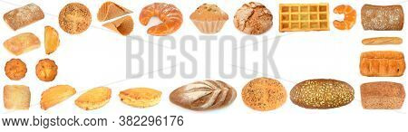 Frame from delicious and fresh bread products isolated on white background.