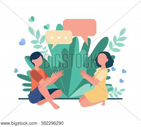 Two Girls Sitting Together And Chatting. Friends, Kids, Meeting, Speech Bubbles Flat Vector Illustra