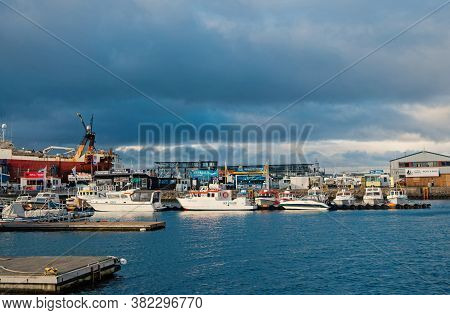 Reykjavik, Iceland - October 13, 2017: Marine And Coastal Area With Sea Port View. Travel By Ship. M
