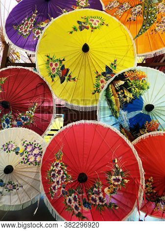 Bor Sang, Chiang Mai, Thailand, December 22, 2018: Umbrellas Of Different Colors Displayed At The Bo