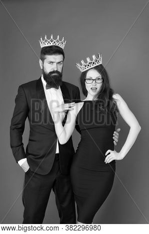 Success Is Our First Name. Business Couple Celebrate Success. Beauty Queen And Big Boss Red Backgrou
