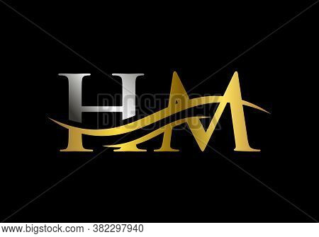 Water Wave Hm Logo Vector. Swoosh Letter Hm Logo Design For Business And Company Identity.