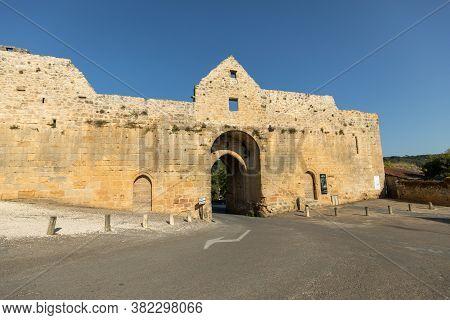 Domme, France - September 2, 2018: Porte Des Tours, The Medieval City Gate, Domme, Dordogne, Aquitai