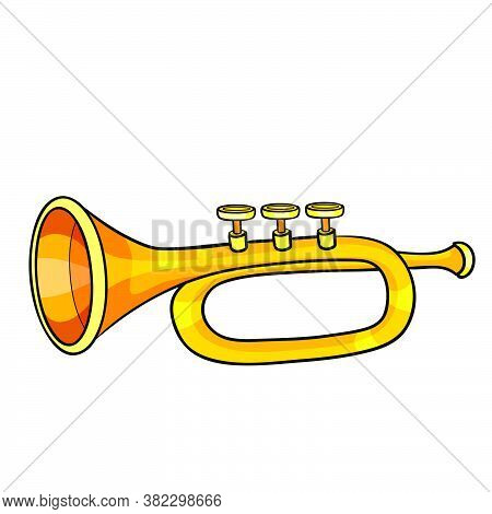 Musical Instrument Trumpet, Cartoon Illustration, Isolated Object On White Background, Vector Illust