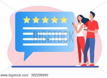 Customers Submitting Review. Couple Using Phones, Speech Bubble With Rate Stars Flat Vector Illustra
