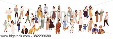 Crowd Of Multiethnic Male And Female Person Vector Flat Illustration. Diverse Various People Walking