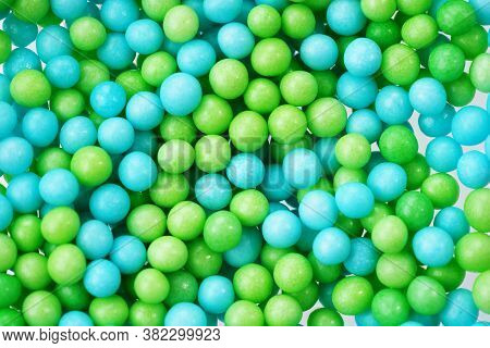 Green And Blue Eatable Sugar Pearls For Food Decoration