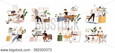 Set Of Different People Practicing Workout At Workplace Vector Flat Illustration. Collection Of Vari