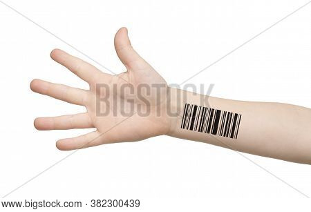 Genetics And Cloning Concept. Kids Hand With Barcode Isolated On White, Collage