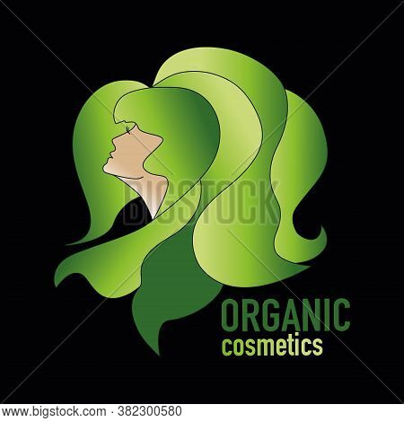 Chic Logo  Female Beauty. Profile Portrait Of A Girl With Thick Hair, Luxury Logo. Natural Organic C