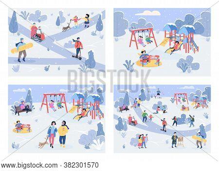 Winter Recreation Area Flat Color Vector Illustration Set. Winter Outdoor Activities. Children Playi