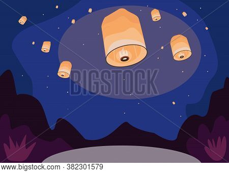 Sky Lanterns Flat Color Vector Illustration. Traditional Chinese Festival. Romantic Nightscape With