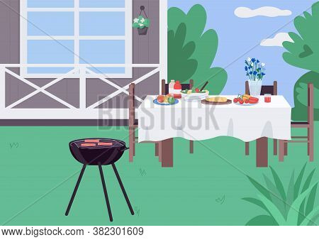 House Yard Bbq Flat Color Vector Illustration. Backyard Barbeque Setting. Grill For Holiday Dinner P