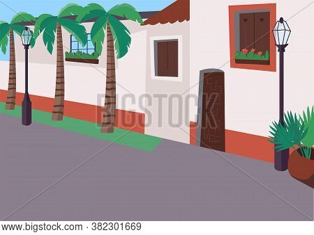 Mexican Sidewalk Flat Color Vector Illustration. Street With Palm Trees. Empty Daytime Traffic Road.