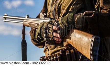 Process Of Hunting During Hunting Season. Male Hunter In Ready To Hunt. Closeup. Hunter Man. Hunting