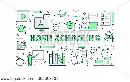 Online Education Poster With Line Icons. Vector Illustration For Banner Included Icon As Student, Co