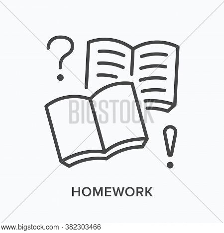 Homework, Workbook Flat Line Icon. Vector Outline Illustration Of Open Book And Blank Notebook With