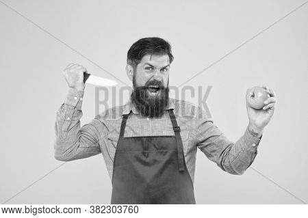 Aggression Concept. Mad Cook. Ultimate List Of Cutting Techniques Every Chef Should Know. Bearded Ma