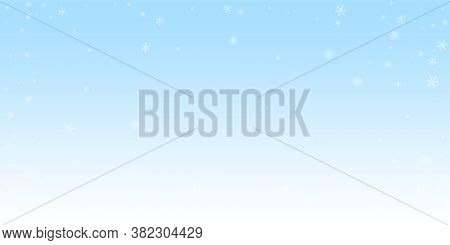 Sparse Glowing Snow Christmas Background. Subtle Flying Snow Flakes And Stars On Winter Sky Backgrou