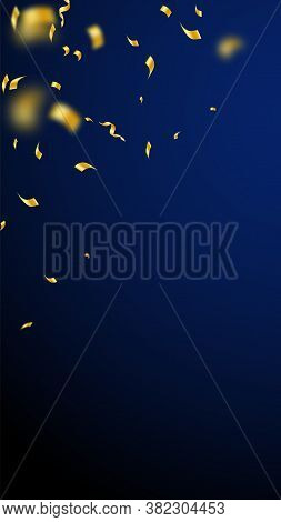 Streamers And Confetti. Gold Streamers Tinsel And Foil Ribbons. Confetti Falling Rain On Dark Blue B