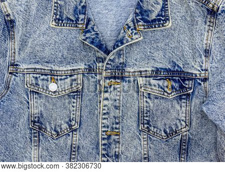 Close-up Photo Of Several Elements Of A Beautiful And Fashionable Denim Jacket.
