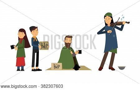 Homeless People Characters Standing With Cardboard Sign And Begging For Help Vector Illustration Set