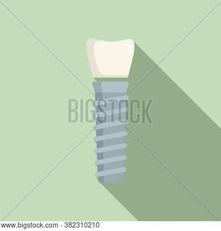 Tooth Implant Icon. Flat Illustration Of Tooth Implant Vector Icon For Web Design
