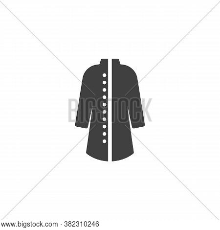 Elegant Coat With Buttons Vector Icon. Filled Flat Sign For Mobile Concept And Web Design. Women Coa