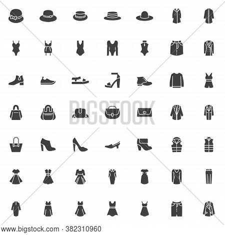 Women Clothes And Accessories Vector Icons Set, Modern Solid Symbol Collection, Filled Style Pictogr