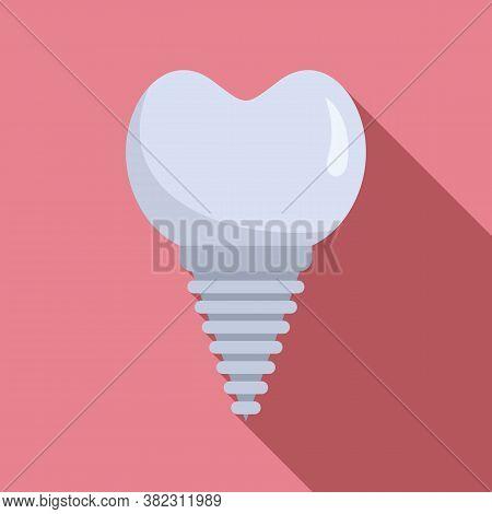 Ceramic Tooth Implant Icon. Flat Illustration Of Ceramic Tooth Implant Vector Icon For Web Design